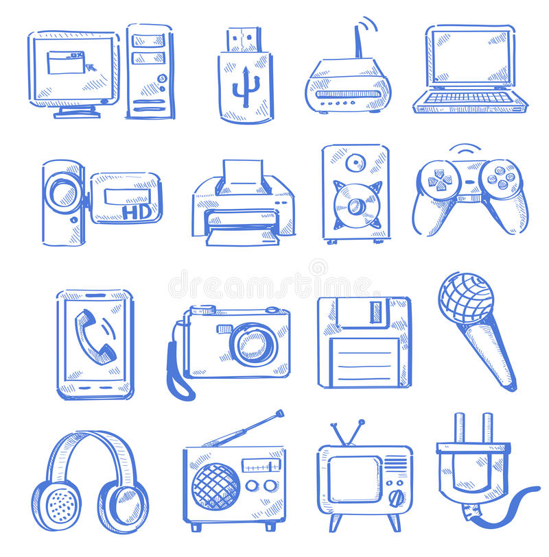 Download Hand draw electronic stock vector. Illustration of pictogram - 31329156