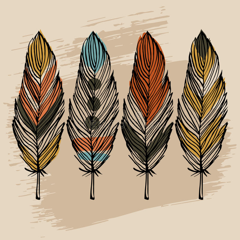 Hand draw feather set. Hand draw colorful feather ethnic vector set royalty free illustration