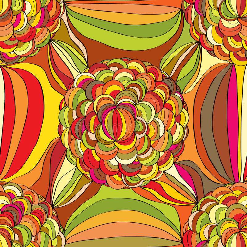 Hand draw flower circle line seamless pattern stock illustration
