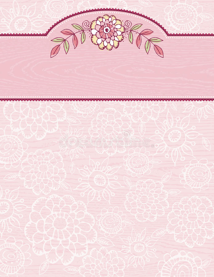 Hand draw flowers on grunge pink background.  royalty free illustration