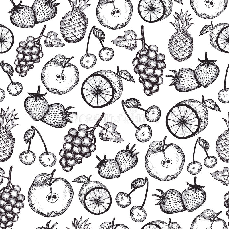 Hand draw fruits seamless pattern stock illustration