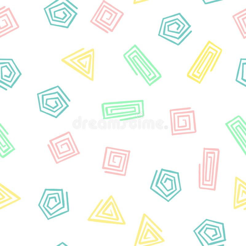 Hand Draw Geometric Shapes Spiral Seamless Pattern. Vector Endless Background of Triangles, Squares, Circles stock illustration