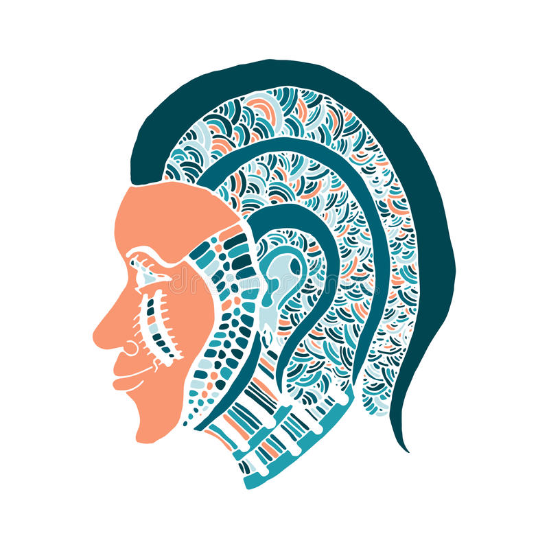 Download Hand Draw Girls Head Patterns Style Of Zentangle Stock Vector