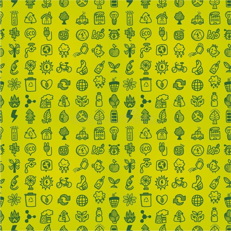 Hand draw green eco seamless pattern stock illustration