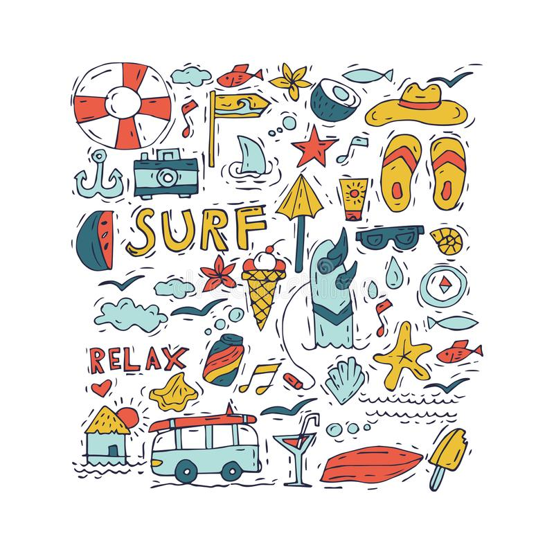 Hand draw icon set surfing collection and summer holiday for your design. Tourism and vacation theme. Hand draw icon set surfing collection and summer holiday royalty free illustration