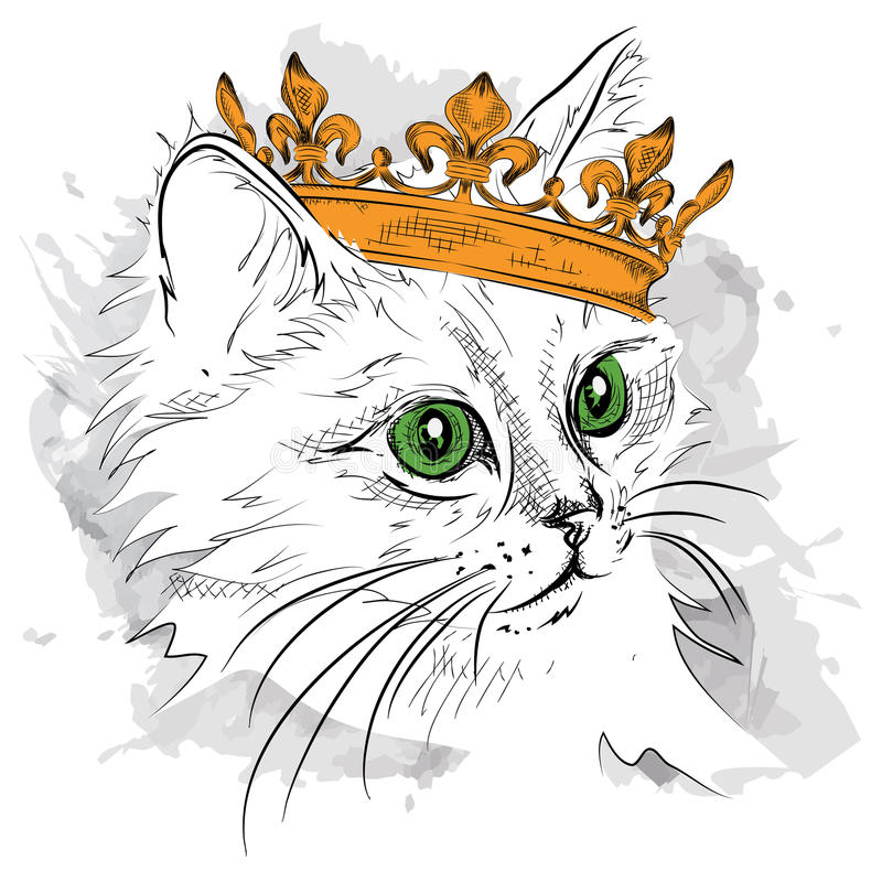 Free Hand Draw Image Portrait Cat In The Crown. Use For Print, Posters, T-shirts. Hand Draw Vector Illustration Royalty Free Stock Photos - 74537568