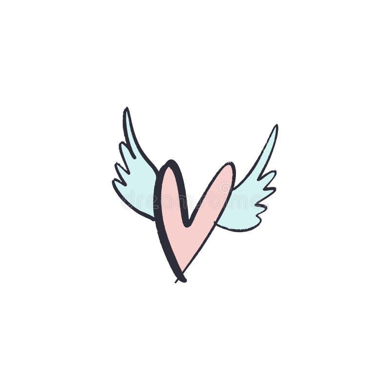 Hand draw ink simple heart illustration. Love symbol. Decor element for logo, label, emblem, poster, postcard and other vector illustration