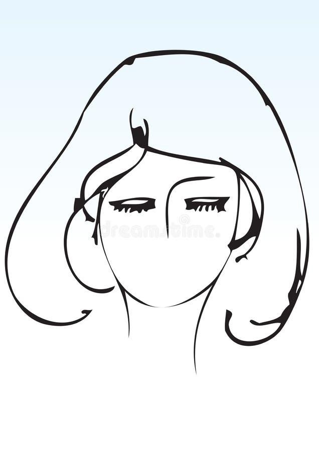 Hand Draw Lady Face Shape Stock Photo