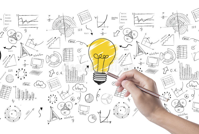 Hand draw lightbulb on wall background. concept for new ideas stock photo