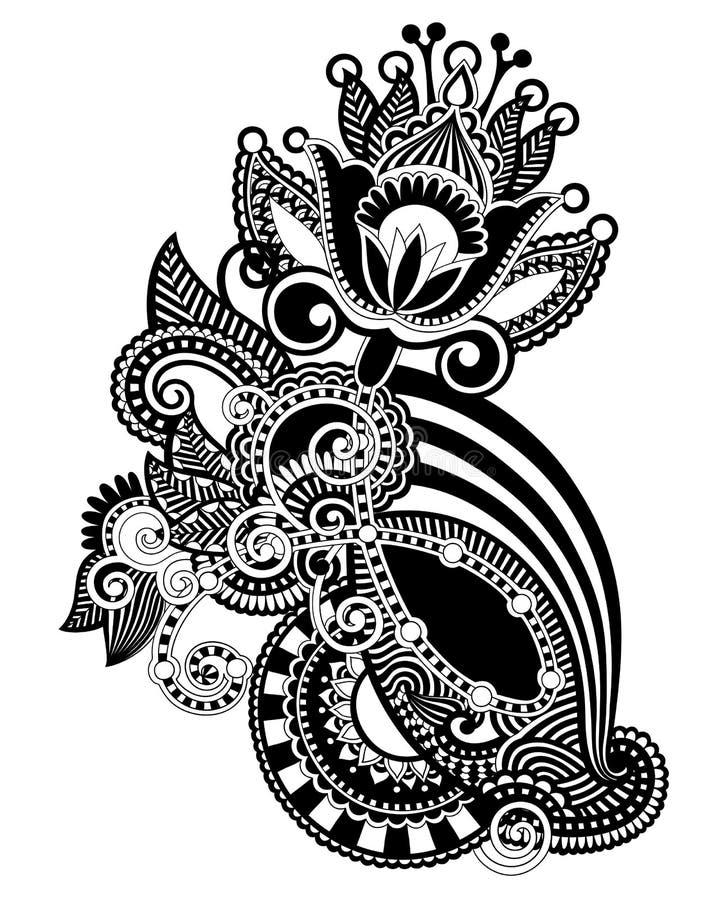 Hand draw line art ornate flower design. Ukrainian traditional style royalty free illustration