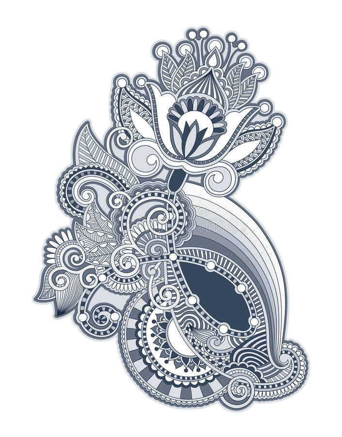 Hand draw line art ornate flower design. Ukrainian traditional style vector illustration