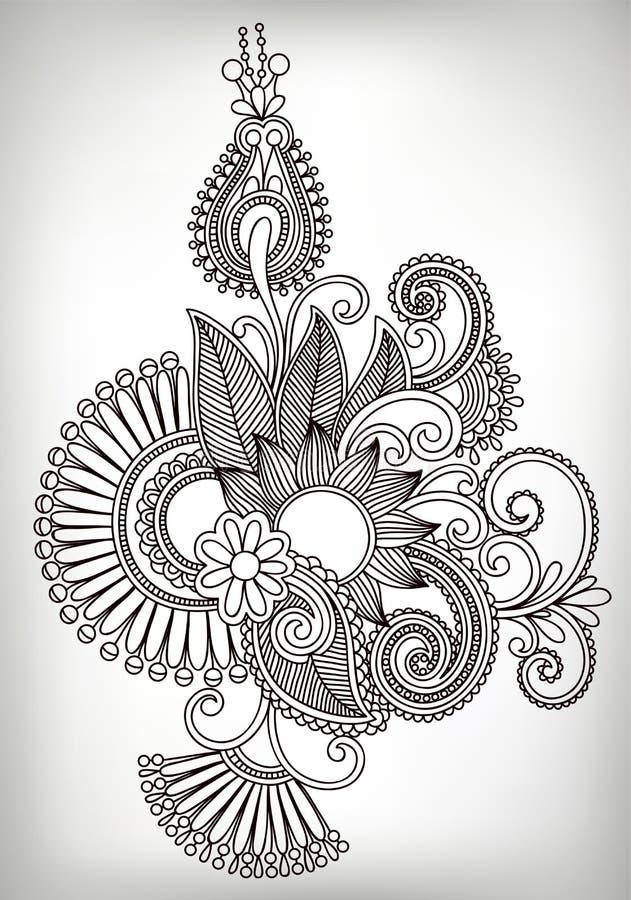 Hand draw line art ornate flower design. Ukrainian. Traditional style stock illustration