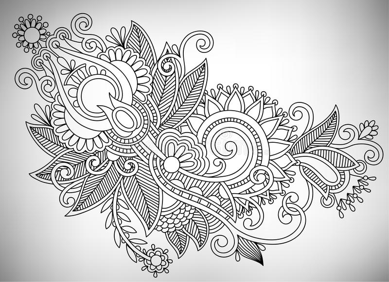 Hand draw line art ornate flower design. Ukrainian. Traditional style royalty free illustration
