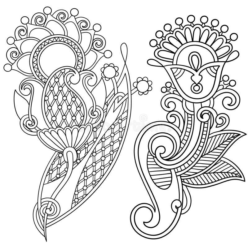 Hand draw line art ornate flower design. Ukrainian. Traditional style vector illustration