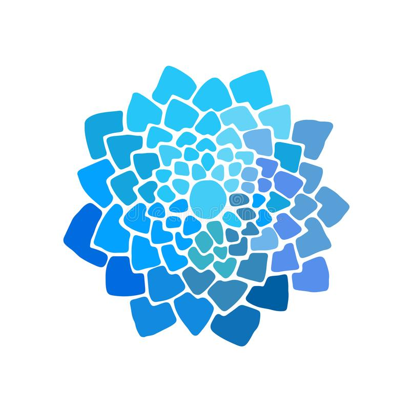 Hand draw lotus flower in blue and violet colors. Symbol of india, asia traditions, oriental practices, yoga and meditation. Can be use how decorative element stock illustration