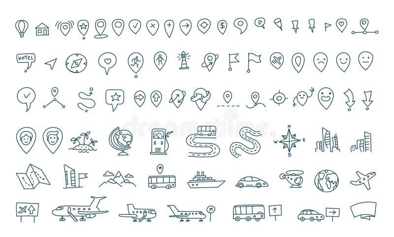 download hand draw map set elements transport tracking travel geography road icons sketch set