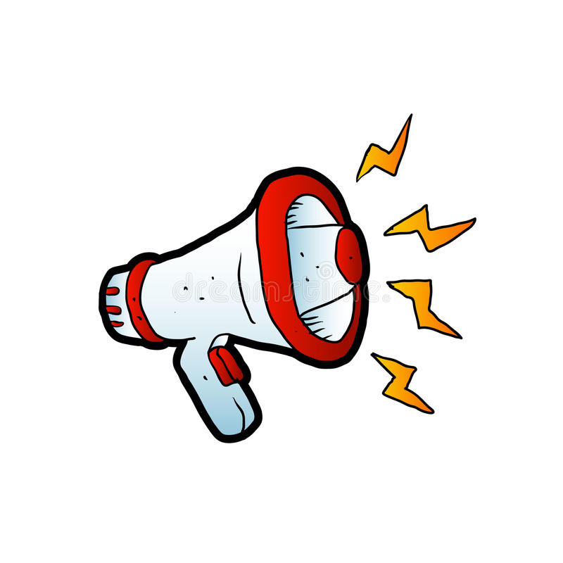 hand draw megaphone cartoon stock vector illustration of symbol rh dreamstime com megaphone cartoon gif megaphone cartoon picture