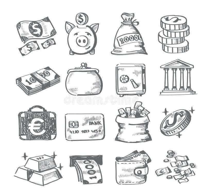 Hand draw money. Vector hand draw money icon set on white royalty free illustration