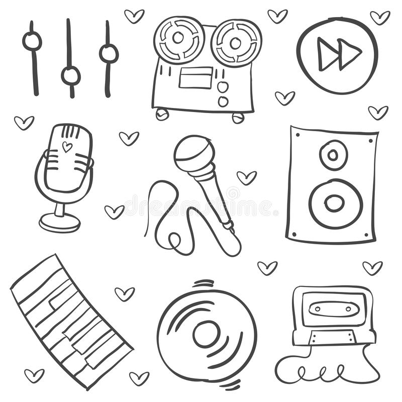 Hand draw musical instrument vector art. Doodle style