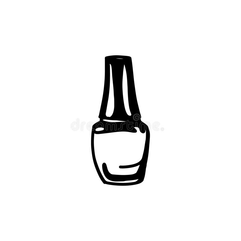 Hand draw nail Polish bottle Icon. Black nail Polish Silhouette isolated on White Background royalty free illustration