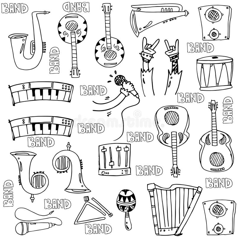 Hand draw object music doodles royalty free illustration