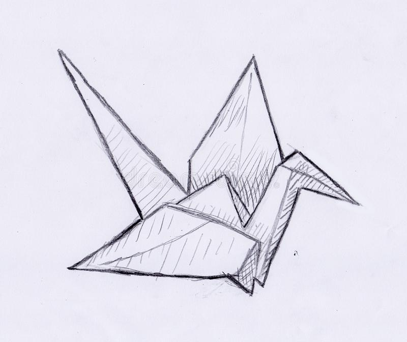 Hand draw of a origami crane vector illustration