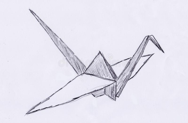 Hand draw of a origami crane stock illustration