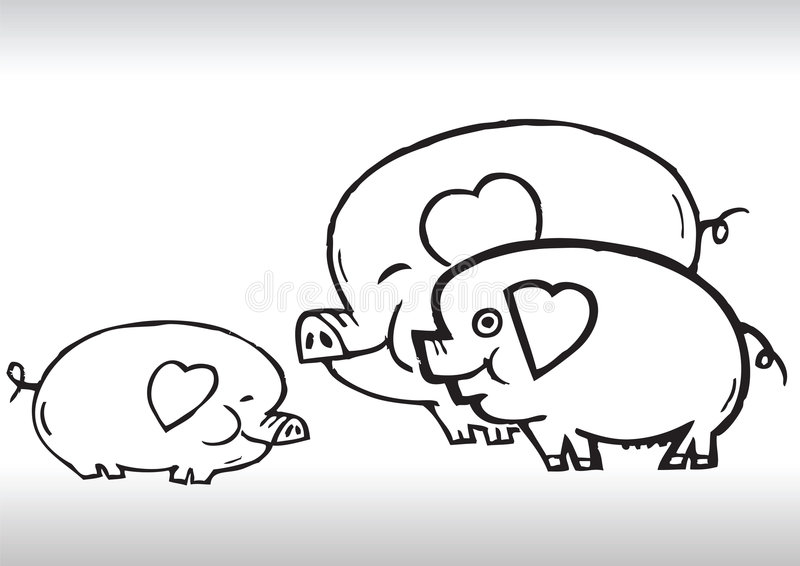 Download Hand Draw Pig Family Love Royalty Free Stock Image - Image: 6838066