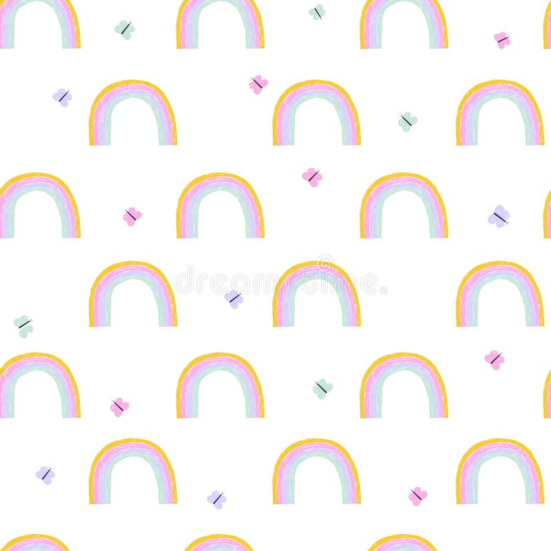 Hand draw rainbow childish seamless pattern vector illustration