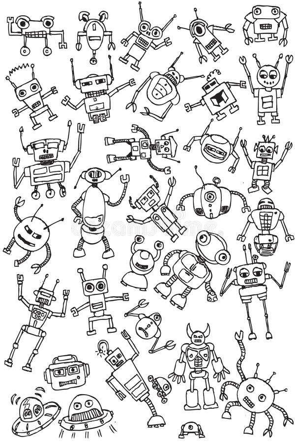 Download Hand Draw Robots Icon Collection Vector Stock Vector - Illustration of cartoon, funny: 15607630