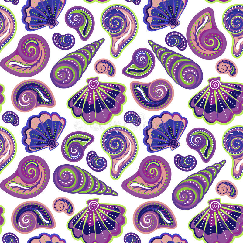Hand draw sea shells pattern. Seamless texture with hand painted oceanic life objects. Vector summer background royalty free illustration