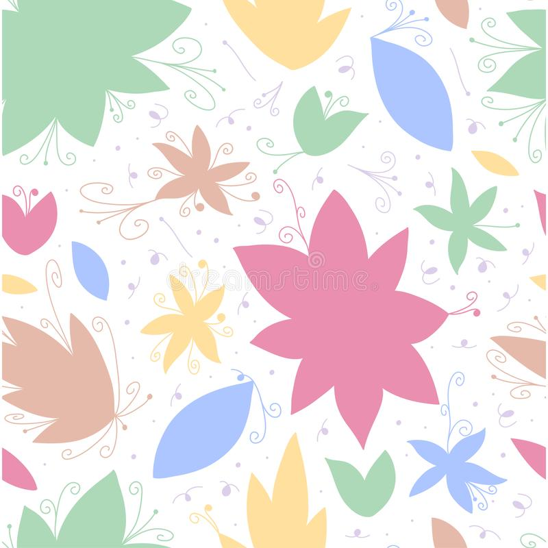 Hand draw seamless doodle pattern with flower line, great design for any purposes. Textile ornament Wedding and romantic ornament royalty free illustration