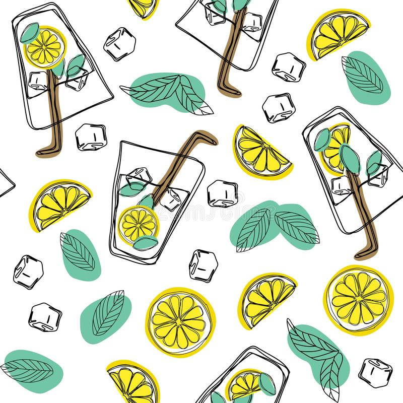 Hand draw seamless pattern glass of mojito, ice cubes, mint leaves, lime slice and whole lime. Alcohol cocktail. Cold mojito cockt. Ail print vector illustration