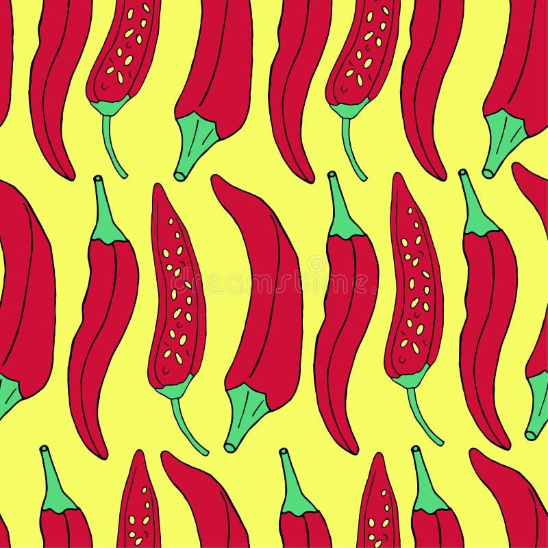 Hand draw seamless pattern of red pepper. Vector illustration vector illustration