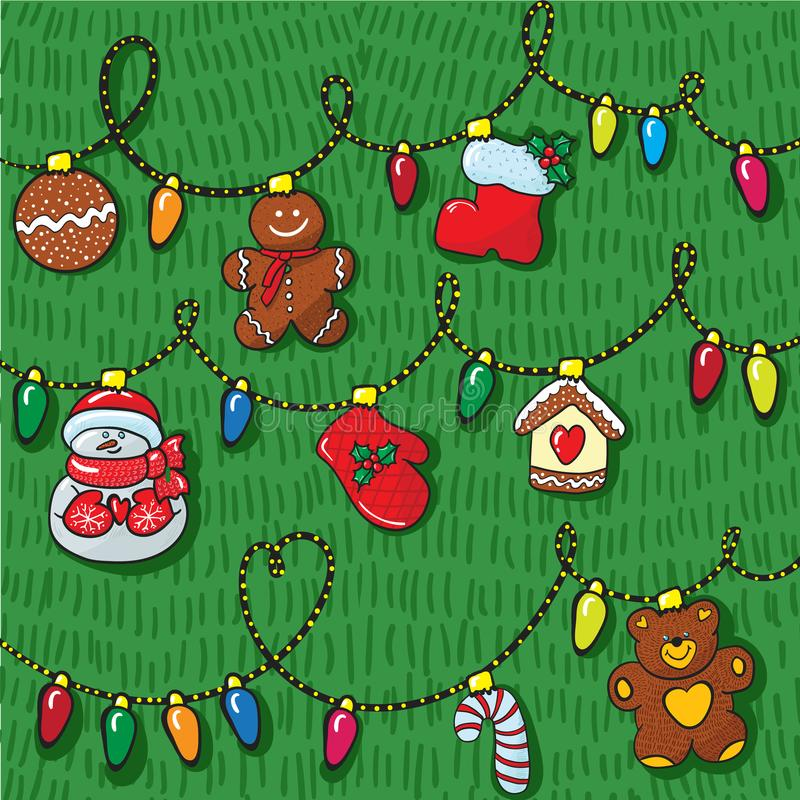 Set of christmas decoration hand draw with pattern stock images