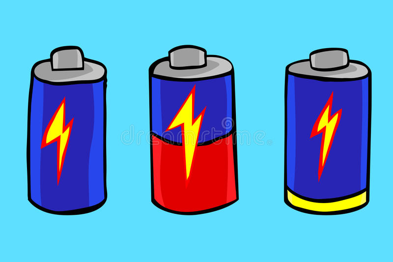 Hand Draw Sketch of Battery Level. Vector Hand Draw Sketch of Battery Level stock illustration