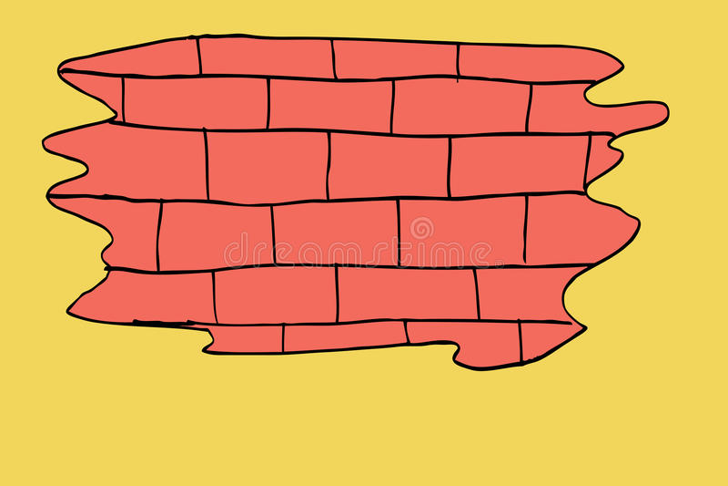 Hand draw sketch, Brick Wall. Isolated on orange stock illustration
