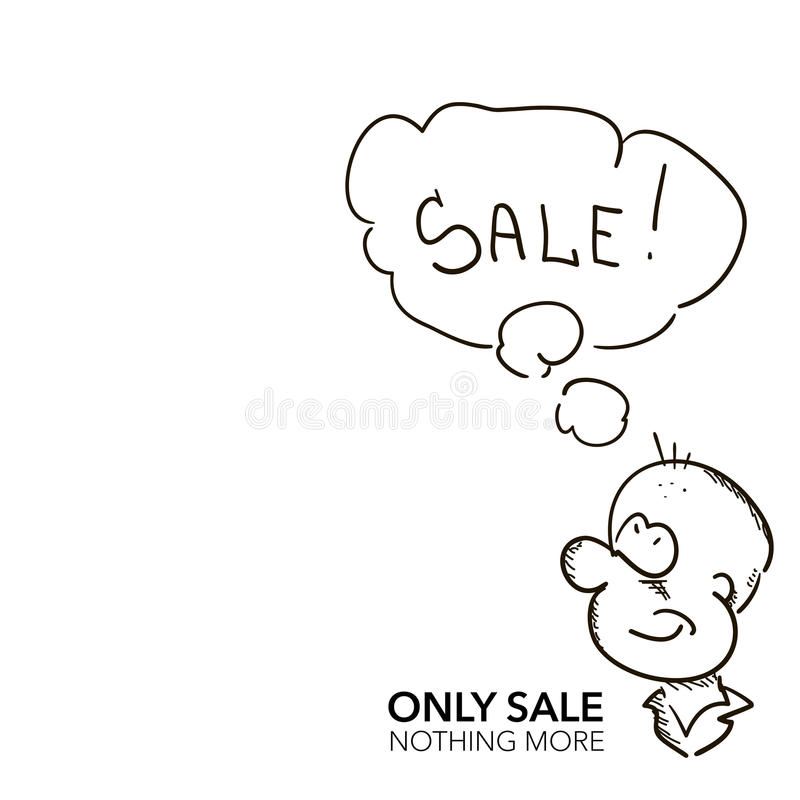 Hand draw sketch cartoon man with sale speech bubble stock illustration