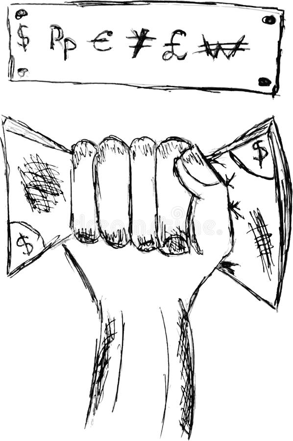 Free Hand Draw Sketch, Hand Holding Money Royalty Free Stock Image - 40484506