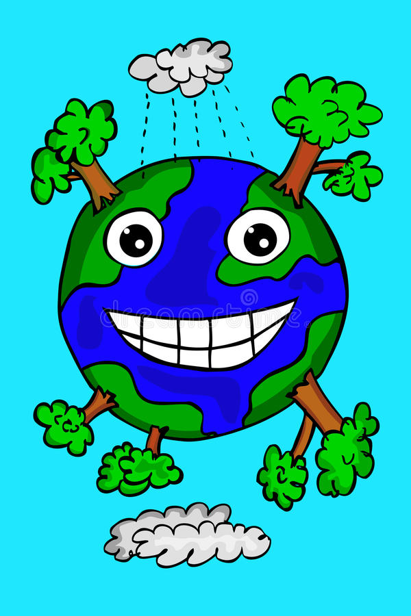 Hand draw sketch of happy earth royalty free illustration
