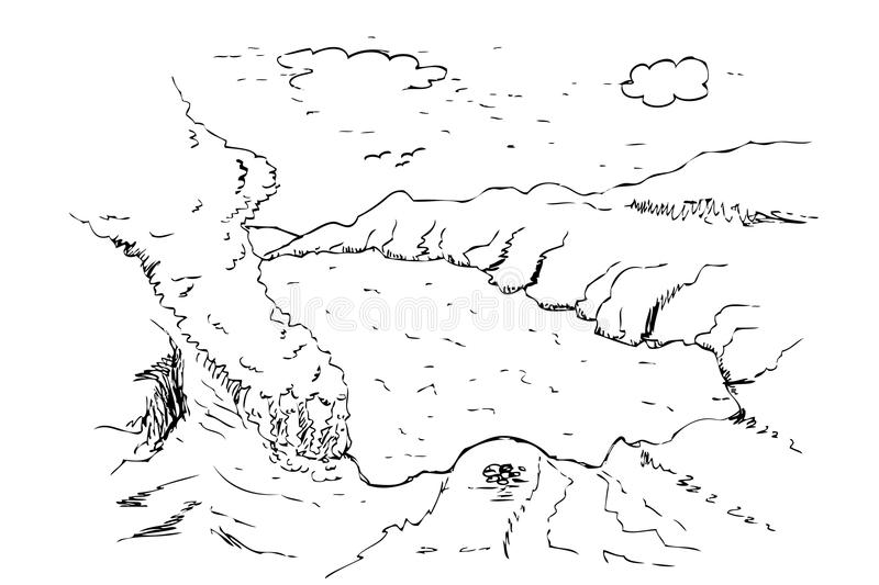 Hand draw sketch ijen crater, banyuwangi, east java, indonesia. Vector hand draw sketch ijen crater, banyuwangi, east java, indonesia black and white stock illustration