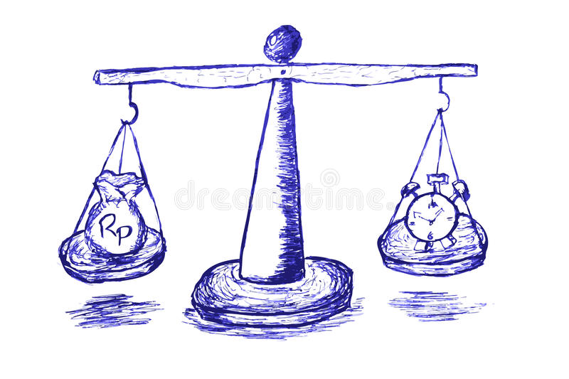 Hand Draw Sketch Scale, Time is Money royalty free illustration