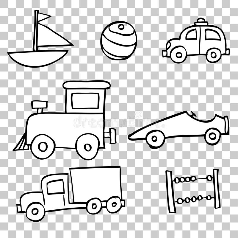 Drawings Of Toys For Boys : Hand draw sketch of toddler toys boy stock vector