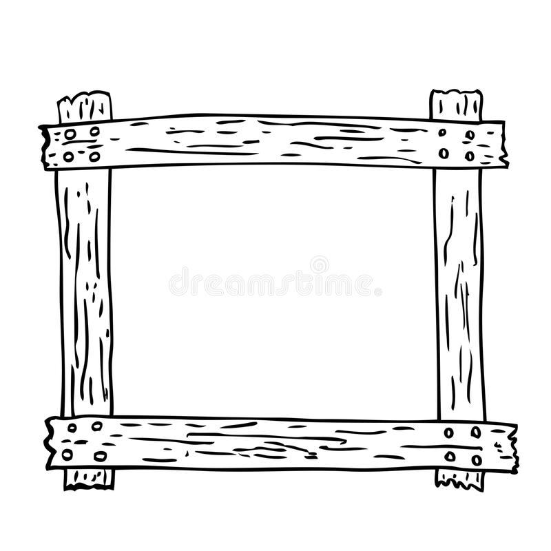 Hand Draw Sketch Of Wooden Frame Stock Vector - Illustration of ...
