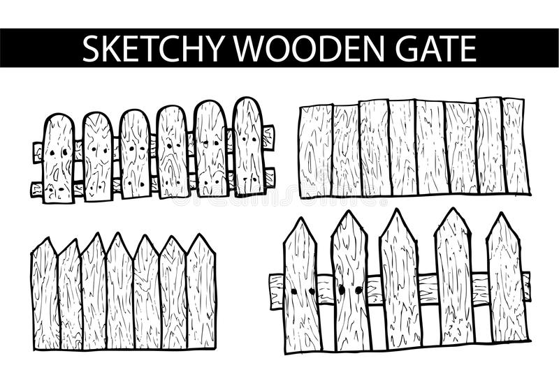 Hand draw sketch of Wooden Gate. Vector hand draw sketch of Wooden Gate stock illustration