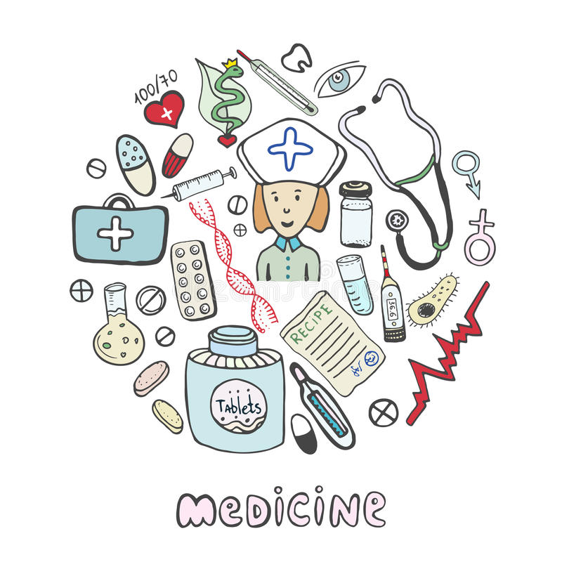 Hand draw sketches medicine icons set. Medical and healthcare collection stock illustration