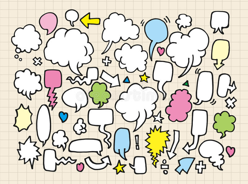 Hand draw speech bubbles royalty free illustration