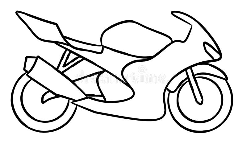 Hand draw style of a new motorcycle illustration for coloring book. stock illustration
