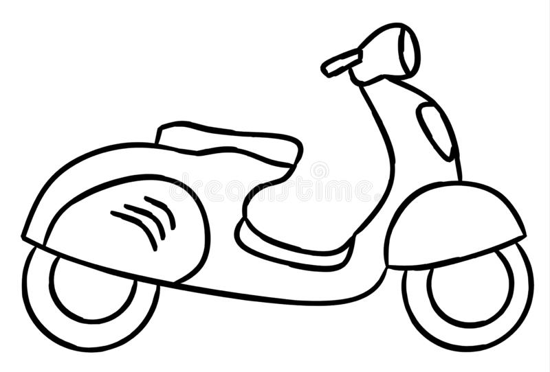 Hand draw style of a new motorcycle illustration for coloring book. royalty free illustration