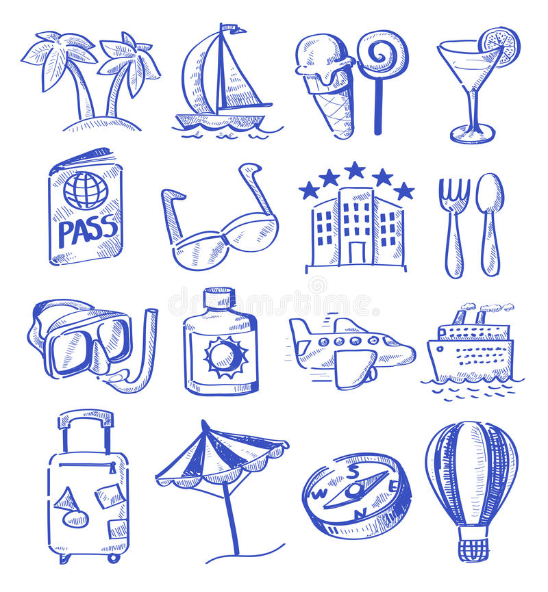 Download Hand draw travel stock vector. Image of tourism, direction - 31380369
